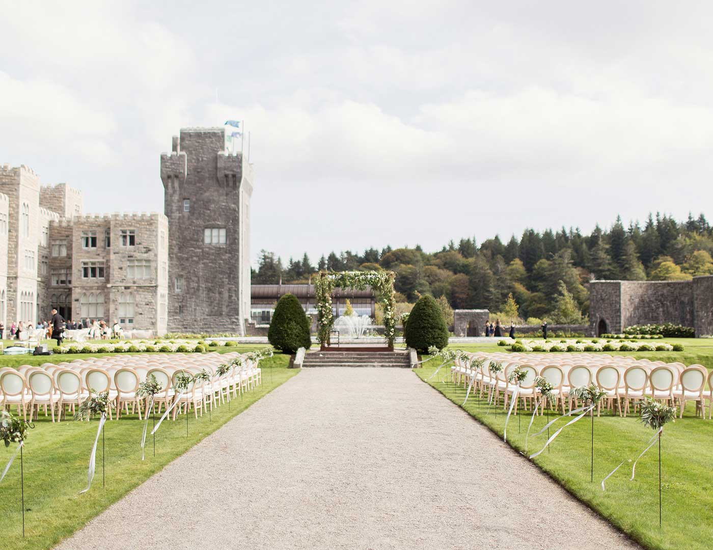 Outdoor Wedding ceremony, Ashford Castle, Wedding ceremony, Marquee ceremony, Event planner in Ireland, Wedding Planner in Ireland, Destination Weddings, Olivia Buckley International